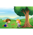 A girl and a boy watching the plant grow vector image vector image