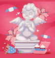 angelic cupid sculpture background vector image