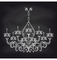 Antique gothic chandeliar sketch on chalkboard vector image