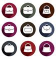 Bag icons set of 9 examples fashion theme symbols vector image