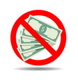 ban cash payment vector image vector image