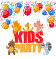 birthday party poster with cute animals having fun vector image