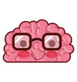 brain character with glasses and calm expression vector image