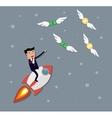 Businessman flying catch money vector image vector image