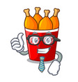 businessman fried chicken in red bucket cartoon vector image