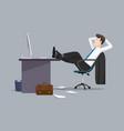 businessman relaxing between work vector image