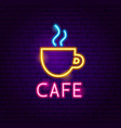 cafe neon label vector image vector image