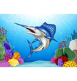 Cartoon Blue Marlin with Coral Reef Underwater
