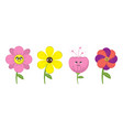 cartoon flower and summer isolated vector image