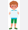cartoon of a cute little boy in full vector image