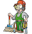 cartoon of a happy working lumberjack or vector image vector image