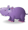 cartoon smiling hippo vector image vector image