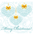 Christmas card with patterned hearts vector image vector image