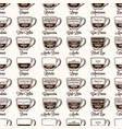 coffee type recipe seamless pattern infographic vector image