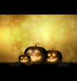 dark cute halloween pumpkins and bokeh background vector image