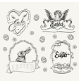 Easter logo set in vintage style Hand drawn vector image