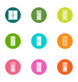 entry icons set flat style vector image vector image