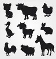 farm animals silhouettes collection vector image vector image