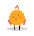funny cartoon chicken character in geometric shape vector image vector image
