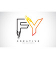 fy creative modern logo design with orange and vector image