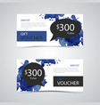 gift voucher with stains in blue black design vector image