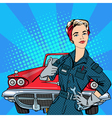 Girl with Tools Vintage American Car Pop Art