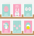 happy easter greeting card set on the shelf vector image