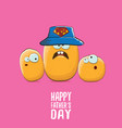 happy fathers day greeting card with cartoon vector image vector image