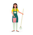 happy woman with a bucket water and a mop vector image