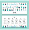 horizontal calendar 2022 doctors and nurses vector image vector image