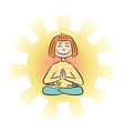 image a cartoon funny girl sitting on lotus vector image