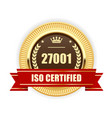 iso 27001 certified medal - information security vector image vector image
