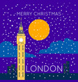 london big ben snowy merry christmas poster vector image