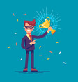 man is holding a golden cup and smiling friendly vector image vector image