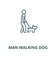 man walking dog line icon linear concept vector image