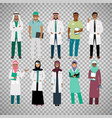 muslims healthcare staff on transparent background vector image vector image