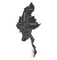 myanmar map labelled black vector image vector image