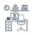office workspace desk chair pc printer clock vector image vector image