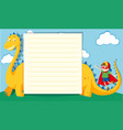 paper template with boy and dragon vector image vector image