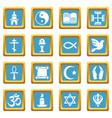 religion icons set sapphirine square vector image vector image