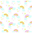 seamless pattern with cute rainbow and vector image vector image