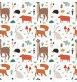 seamless pattern with cute scandinavian woodland vector image vector image