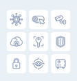 security icons set secure server lock shield vector image vector image