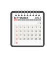 september 2018 calendar calendar notebook page vector image vector image