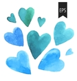 Set of blue watercolor hearts vector image vector image
