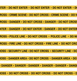 set of crime scene yellow tape police line vector image vector image