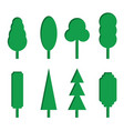 set of green paper tree icons vector image vector image