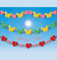 set of repeating garlands with butterflies and vector image
