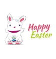 Smiling easter rabbit drawn by hand vector image