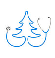 stethoscope in shape of tree in blue design vector image vector image
